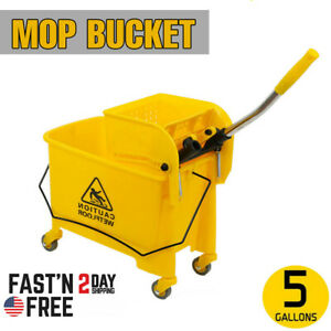 5 Gallon Mini Mop Bucket With Wringer Combo Commercial Rolling Cleaning Cart Usa