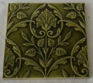 Charming Minton Raised Majolica Aesthetic Green Period Tile