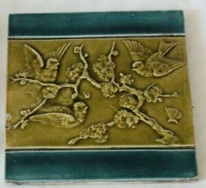 English Aesthetic Raised Majolica Flying Birds Tile 1880s Blue Border