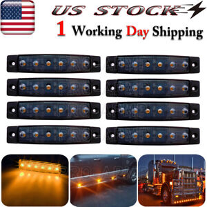 8x 3 8 Smoked Amber Led Marker Indicator Lights Trailer Truck Clearance Light