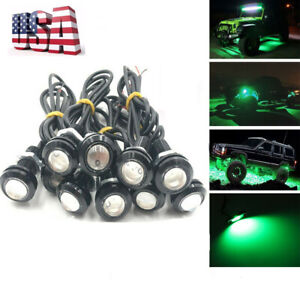 10x Green Led Rock Round Button Lights Truck Eagle Eye Side Marker Lights Lamp