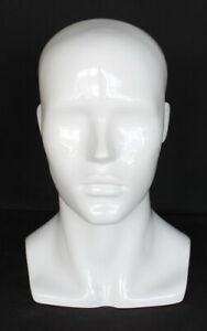 13 5 In H Male Head Mannequin Bust Form Display Mannequin Glossy White Mh8 gw