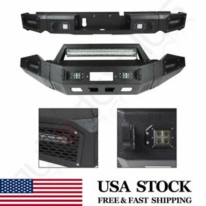 Steel Front Rear Bumper Guard W Led Lights D rings For 13 18 Dodge Ram 1500