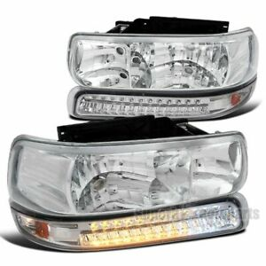 For 1999 2002 Silverado 1500 2000 2006 Tahoe Clear Headlights Led Bumper Lamps
