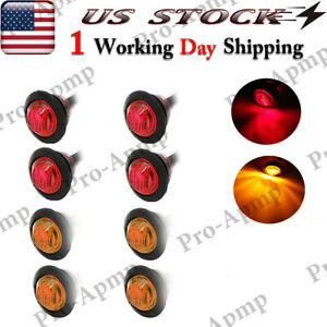 8x Red Amber Led Mini 3 4 Round Marker Lights Trailer Clearance Bullet Light