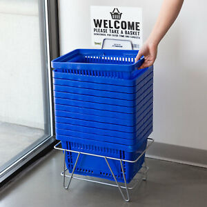 Plastic Grocery Market Shopping Baskets With Stand And Sign 16 1 8 X 11 Blue