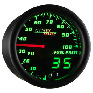 52mm Maxtow Double Vision 100psi Fuel Pressure Gauge Green Digital Analog