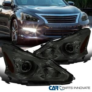 For 13 15 Nissan Altima Sedan Smoke Lens Projector Headlights Head Lamps Pair