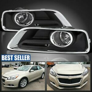 2013 2015 Chevy Malibu Clear Fog Lights Bumper Driving Lamps W Switch Bezel