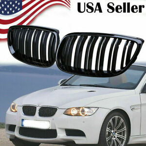 Glossy Black Sport Kidney Grille Cover Double Line Fit Bmw E90 E92 E93 M3 08 13