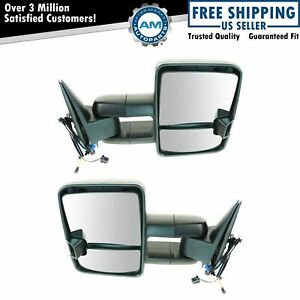 Towing Mirrors Pair Power Heated Led Signal Marker Spotlight Black Pair For Gm