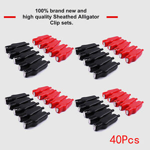 Red black Sheathed Alligator Clip Power Clamp Electrical Jumper Wire 20a Each 20