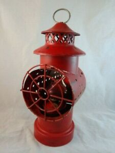 Oil Candle Lantern Antique Old Red Color Rr Style