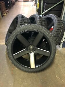 24 Dub Baller Black Ddt Wheels Rims Atturo Xt Tires Package 6x5 5 Chevy Gmc