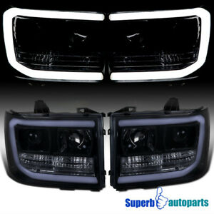 For 2007 2013 Gmc Sierra 2500hd 3500hd Led Drl Glossy Black Projector Headlights