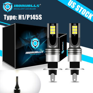2pcs H1 6000k Super White 55w 8000lm Led Headlight Bulbs Kit Fog Driving Light