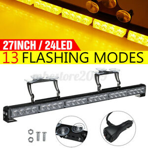 Amber 27 24 Led Emergency Warning Flash Strobe Light Bar Traffic Advisor 12v