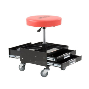 Adjustable Rolling Mechanics Chair Stool Two Tool Trays Padded Seat Garage Shop