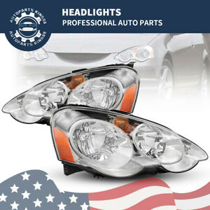 For 2002 2003 2004 Acura Rsx Dc5 Crystal Clear Lens Headlights Lamps Left right