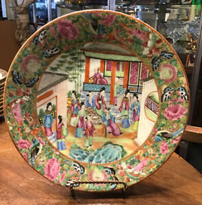 Antique Canton Famille Rose Porcelain Wall Plate Unsigned China 19th Century