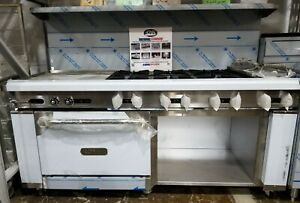 Royal Range 8 Burner Range 24 Grill With 1 Oven And Open Base Bottom Nat Gas