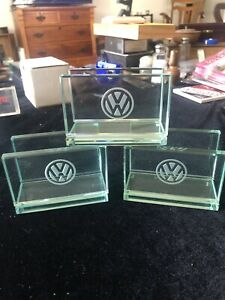 Vintage Vw Volkswagen Glass Desk Business Card Holder Etched