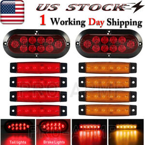 2x Upgrade Rear Waterproof Red Led Truck Boat Trailer Marker Tail Light Kit Usa
