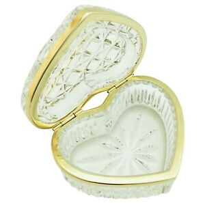 Antique Crystal Cut Glass Hinged Trinket Box Heart 4 Gold Tone Lid Ring