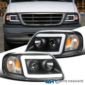 For Ford 97 03 F150 Expedition Matte Black Tube Led Projector Headlights Pair
