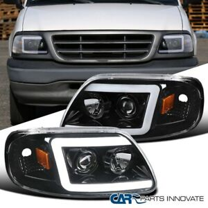 For Ford 97 03 F150 Expedition Led Drl Tube Pearl Black Projector Headlights