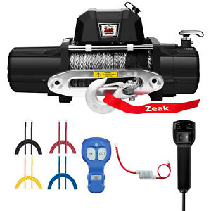 Zeak 12000lb Electric Winch Synthetic Rope Waterproof Towing Truck Off Road