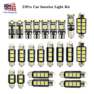 23pcs Led Car Lights Bulbs Interior Map Dome Trunk License Plate Lamps Set White