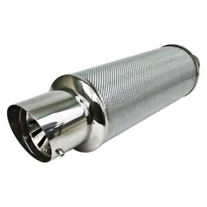 Exhaust Muffler Silver Carbon Fiber Stainless Steel Adjustable Silencer Dtm 202s