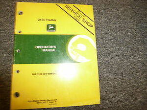 John Deere Model 3155 Utility Tractor Owner Operator Manual User Guide Oml60017
