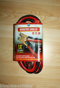 Battery Booster Cables Jumper Cables 12 Ft 10 Guage Heavy Duty 150 Amp New