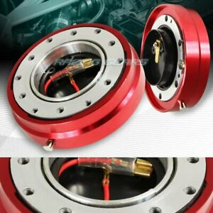 Universal Jdm 6 Hole 1 Thin Steering Wheel Red Quick Release Short Hub Adapter