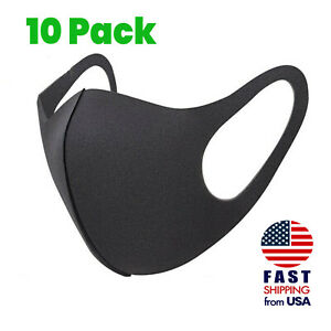 10 Pack Breathable Black Sponge Foam Mouth Face Mask Thin Lightweight Cover