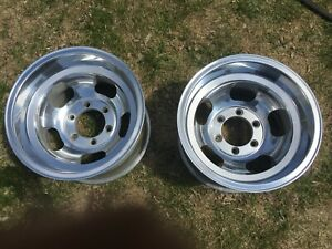 Vintage Cragar Aluminum Slot Wheels 15x10 6 Hole 5 5 Bolt Pattern Restored