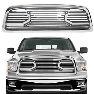 Big Horn Chrome Packaged Grille Shell W Lights For 2009 2012 Dodge Ram 1500