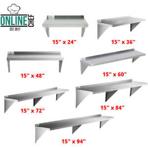 Commercial Stainless Steel Wall Shelf Heavy Duty Table Silver Overshelf Nsf