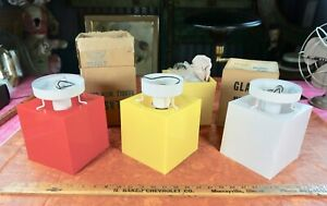 Vtg Retro Nos Cube Acrylic Plastic Lucite Mid Century Light Sconce Or Ceiling