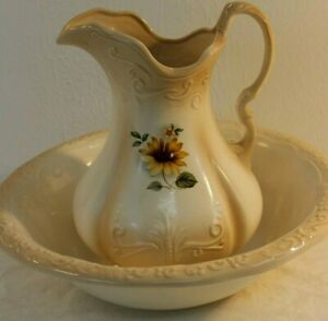Xl Ironstone Ceramic Pitcher And Wash Basin Sunflower Pattern Tan