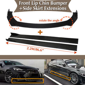 Universal Car Front Bumper Lip Spoiler Chin Splitter 86 6 Side Skirt Extension