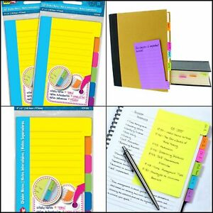 Redi tag Divider Sticky Notes Tabbed Self stick Lined Note Pad