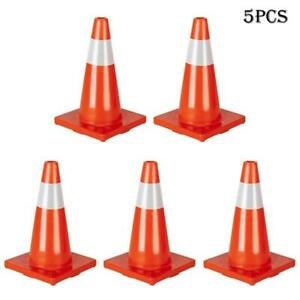 5pcs Pvc Traffic Cones Reflective Sleeve Road Orange Cone For Parking Lots