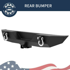 Powder Coated Rear Bumper For 07 18 Jeep Wrangler Jk W D ring Hitch Receiver