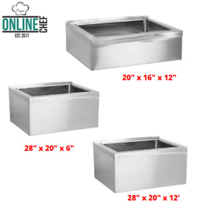 16 Gauge Stainless Steel One Compartment Floor Mop Sinks Durable Large Bowl