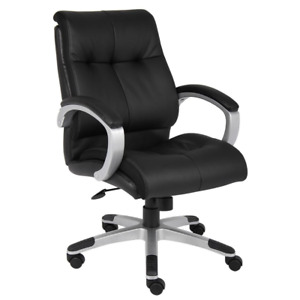 Big Tall 300 Lb capacity Black Leather Executive Office Chair With Padded Arms