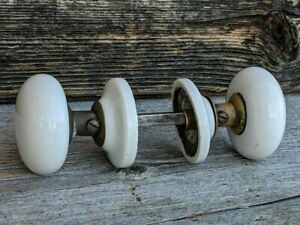 Antique Door Knobs W Rosettes Matching Set Victorian White Porcelain Vintage Gc