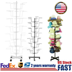 7 Tier Metal Hat Rack Hanger Wigs Display Stand Cap Rotating Stander W 4 Wheel